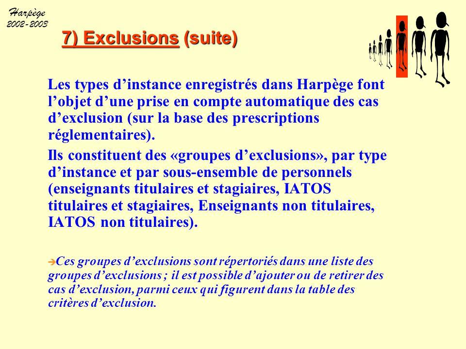 Harpège 2002-2003 7) Exclusions (suite) Les types d'instance enregistrés dans Harpège font l'objet d'une prise en compte automatique des cas d'exclusi