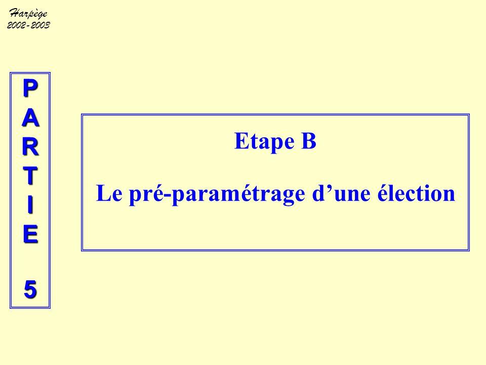 Harpège 2002-2003 PARTIE5 Etape B Le pré-paramétrage d'une élection