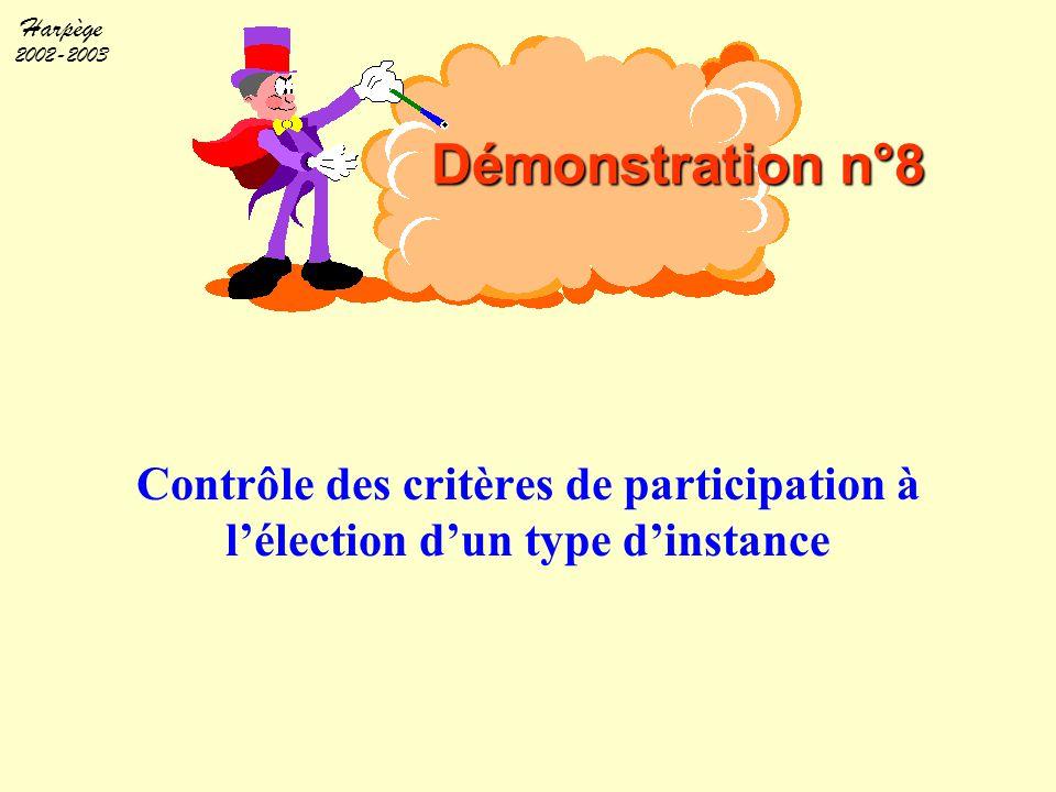 Harpège 2002-2003 Contrôle des critères de participation à l'élection d'un type d'instance Démonstration n°8