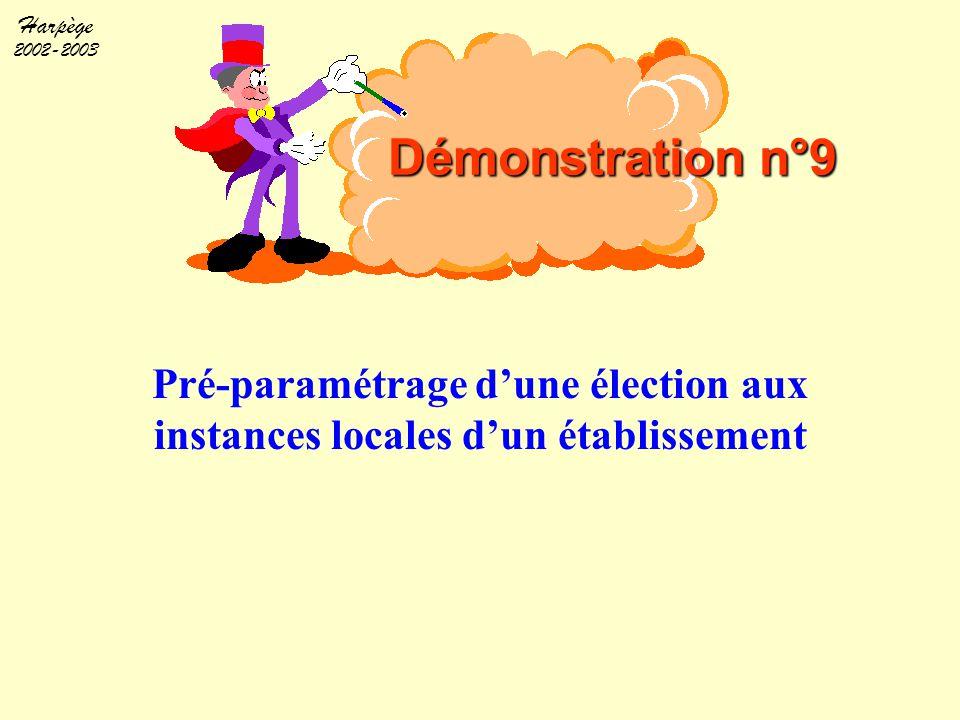 Harpège 2002-2003 Pré-paramétrage d'une élection aux instances locales d'un établissement Démonstration n°9