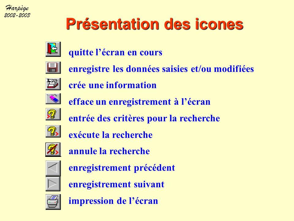 Harpège 2002-2003 Présentation des icones quitte l'écran en cours enregistre les données saisies et/ou modifiées crée une information efface un enregi