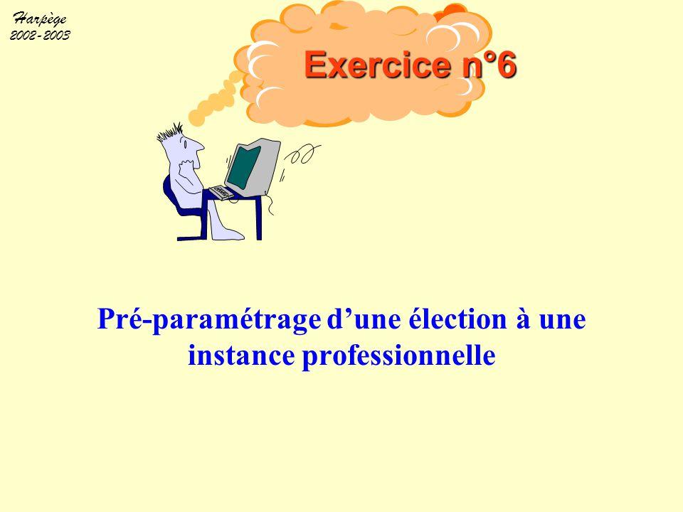 Harpège 2002-2003 Pré-paramétrage d'une élection à une instance professionnelle Exercice n°6