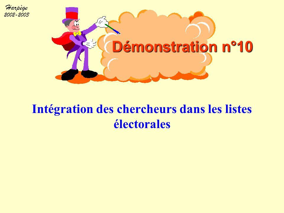Harpège 2002-2003 Intégration des chercheurs dans les listes électorales Démonstration n°10