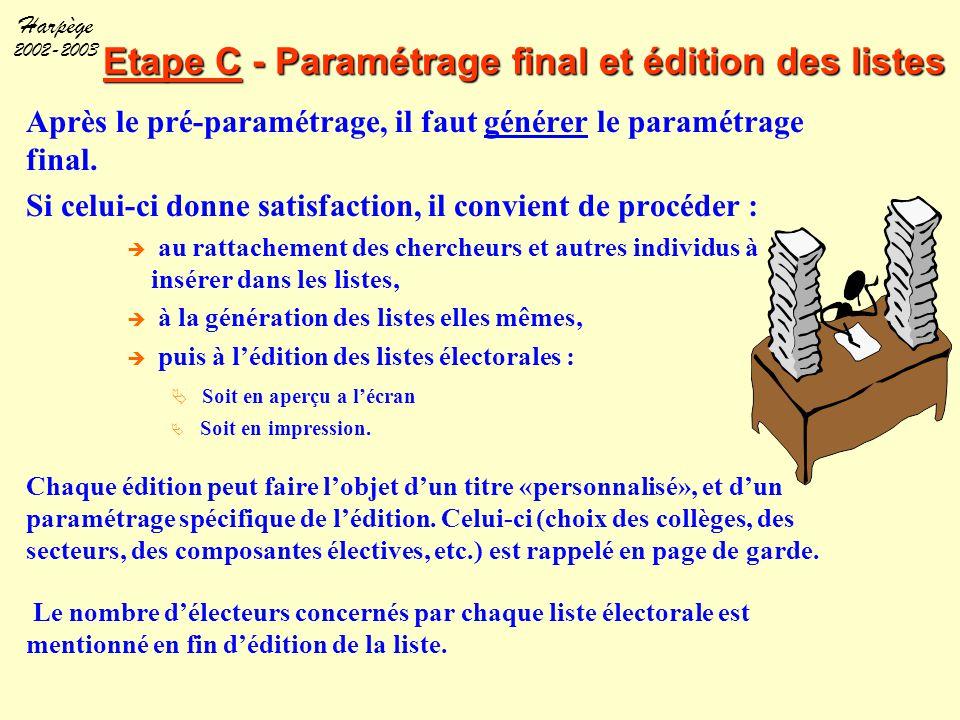 Harpège 2002-2003 Etape C - Paramétrage final et édition des listes Après le pré-paramétrage, il faut générer le paramétrage final. Si celui-ci donne