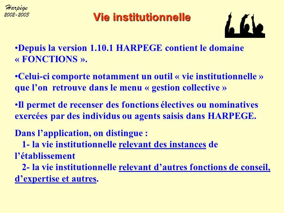 Harpège 2002-2003 Depuis la version 1.10.1 HARPEGE contient le domaine « FONCTIONS ». Celui-ci comporte notamment un outil « vie institutionnelle » qu