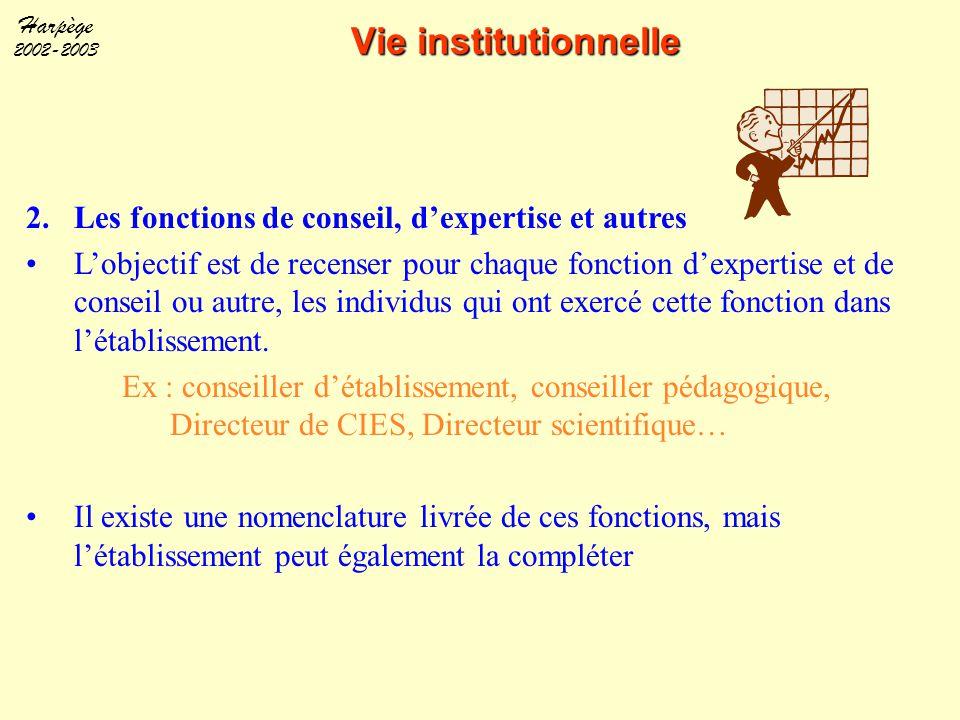 Harpège 2002-2003 Vie institutionnelle 2.Les fonctions de conseil, d'expertise et autres L'objectif est de recenser pour chaque fonction d'expertise e