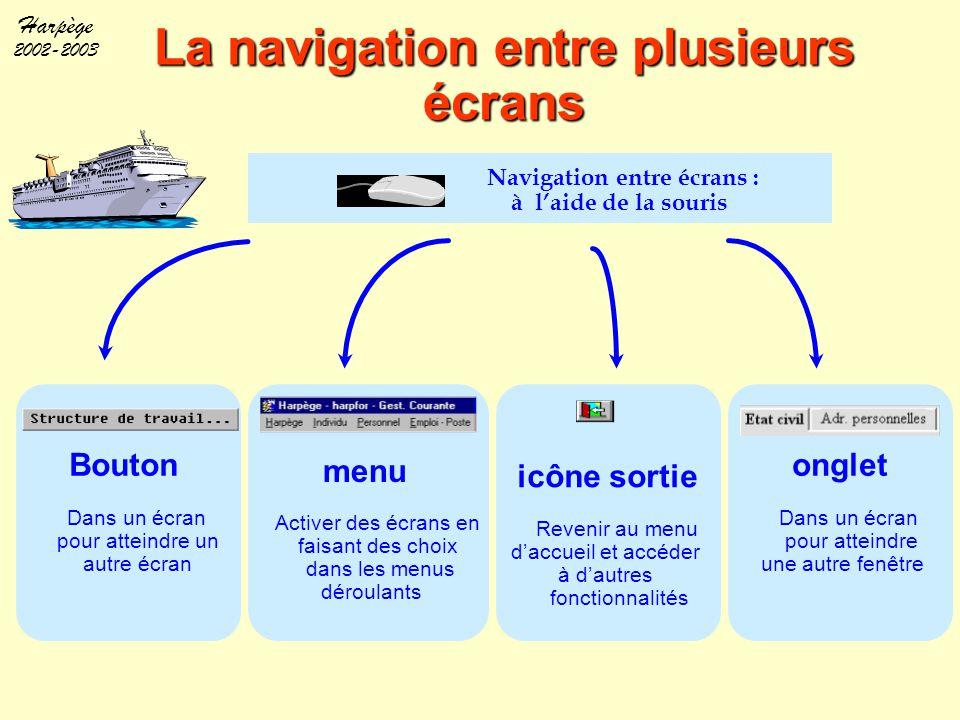 Harpège 2002-2003 La navigation entre plusieurs écrans Navigation entre écrans : à l'aide de la souris Bouton Dans un écran pour atteindre un autre éc