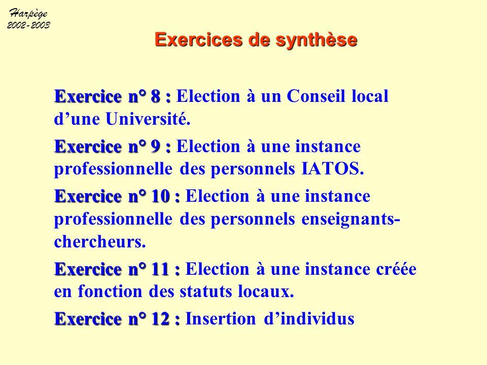 Harpège 2002-2003 Exercices de synthèse Exercice n° 8 : Exercice n° 8 : Election à un Conseil local d'une Université. Exercice n° 9 : Exercice n° 9 :