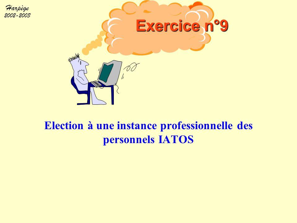 Harpège 2002-2003 Election à une instance professionnelle des personnels IATOS Exercice n°9