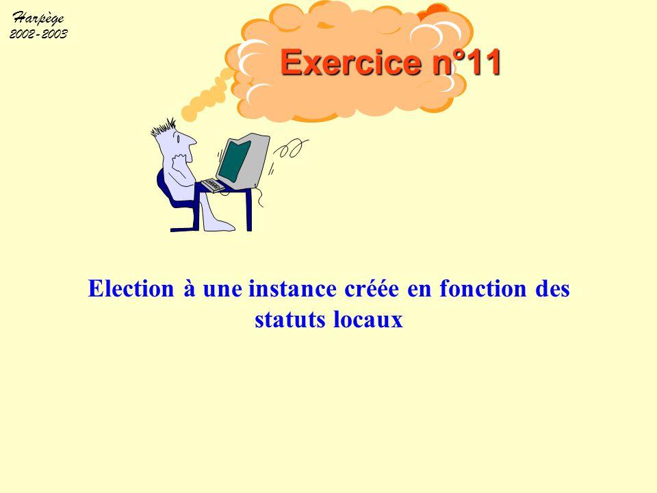 Harpège 2002-2003 Election à une instance créée en fonction des statuts locaux Exercice n°11