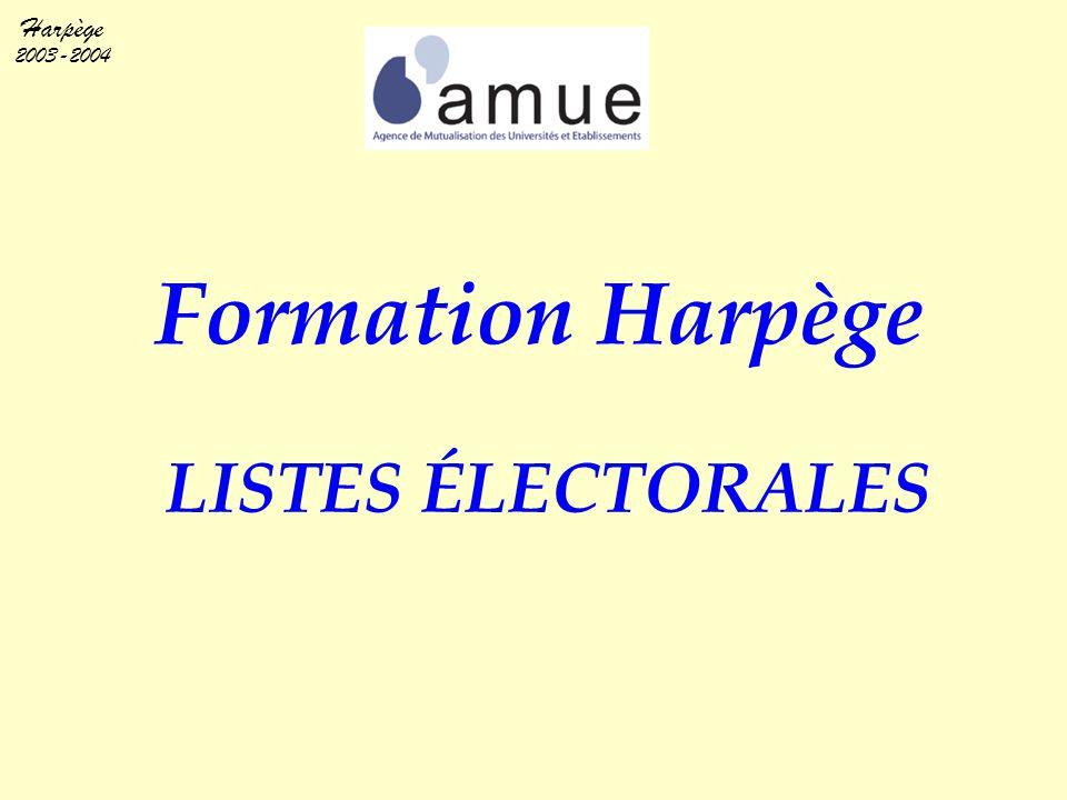 Harpège 2003-2004 BASE DE FORMATION SPECIFIQUE AUX 2 FONCTIONNALITES LISTES ELECTORALES PROMOUVABILITES ITARF AVERTISSEMENT ET CONTRAINTES PARTICULIERES Contrairement aux apparences, nous sommes le 4 mai de l'année universitaire en cours .