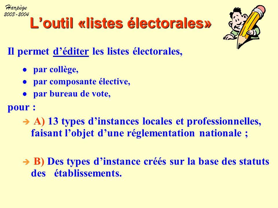 Harpège 2003-2004 L'outil «listes électorales» Il permet d'éditer les listes électorales, par collège, par composante élective, par bureau de vote, po