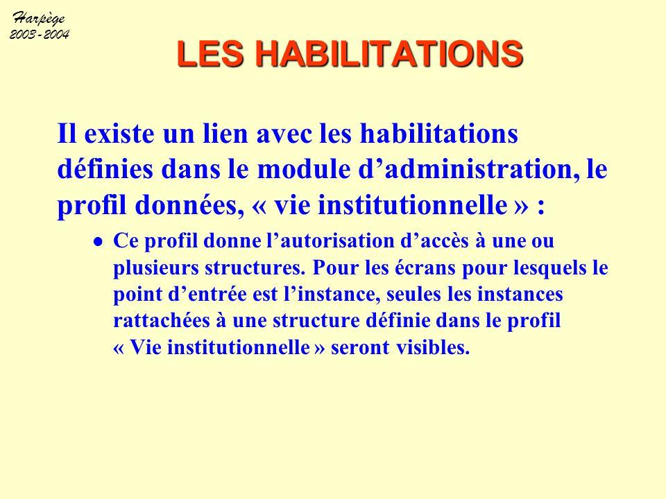 Harpège 2003-2004 LES HABILITATIONS Il existe un lien avec les habilitations définies dans le module d'administration, le profil données, « vie instit