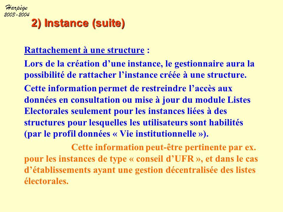 Harpège 2003-2004 2) Instance (suite) Rattachement à une structure : Lors de la création d'une instance, le gestionnaire aura la possibilité de rattac