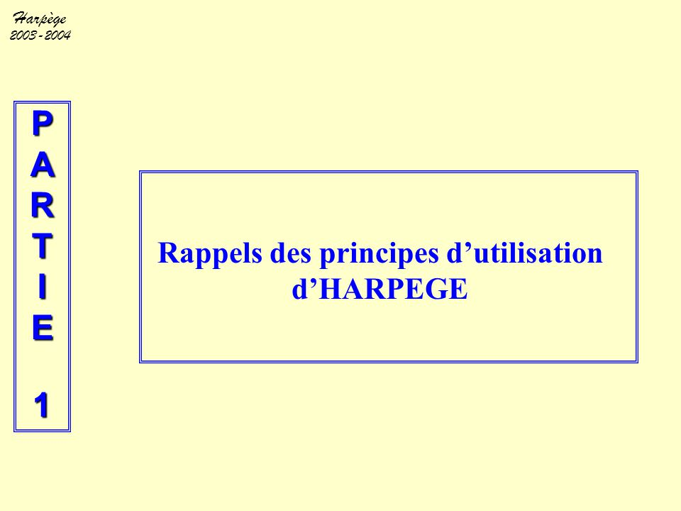 Harpège 2003-2004 Environnement technique et connexion l Environnement windows du poste de travail (PC) :  utilisation de la souris, des icones, des touches fonctions du clavier et de la barre du menu.