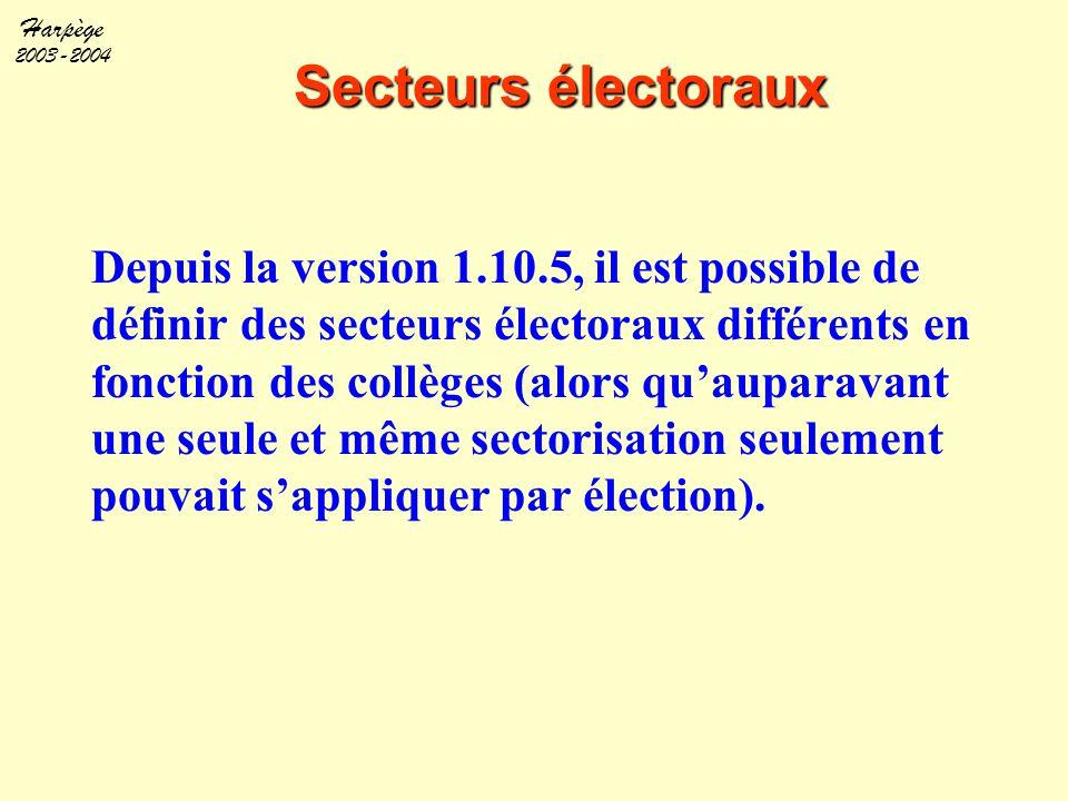Harpège 2003-2004 Secteurs électoraux Depuis la version 1.10.5, il est possible de définir des secteurs électoraux différents en fonction des collèges
