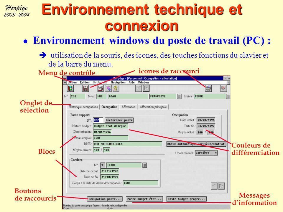 Harpège 2003-2004 Environnement technique et connexion l Environnement windows du poste de travail (PC) :  utilisation de la souris, des icones, des