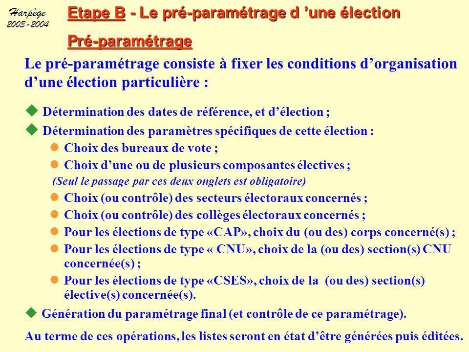 Harpège 2003-2004 Etape B - Le pré-paramétrage d 'une élection Pré-paramétrage Le pré-paramétrage consiste à fixer les conditions d'organisation d'une