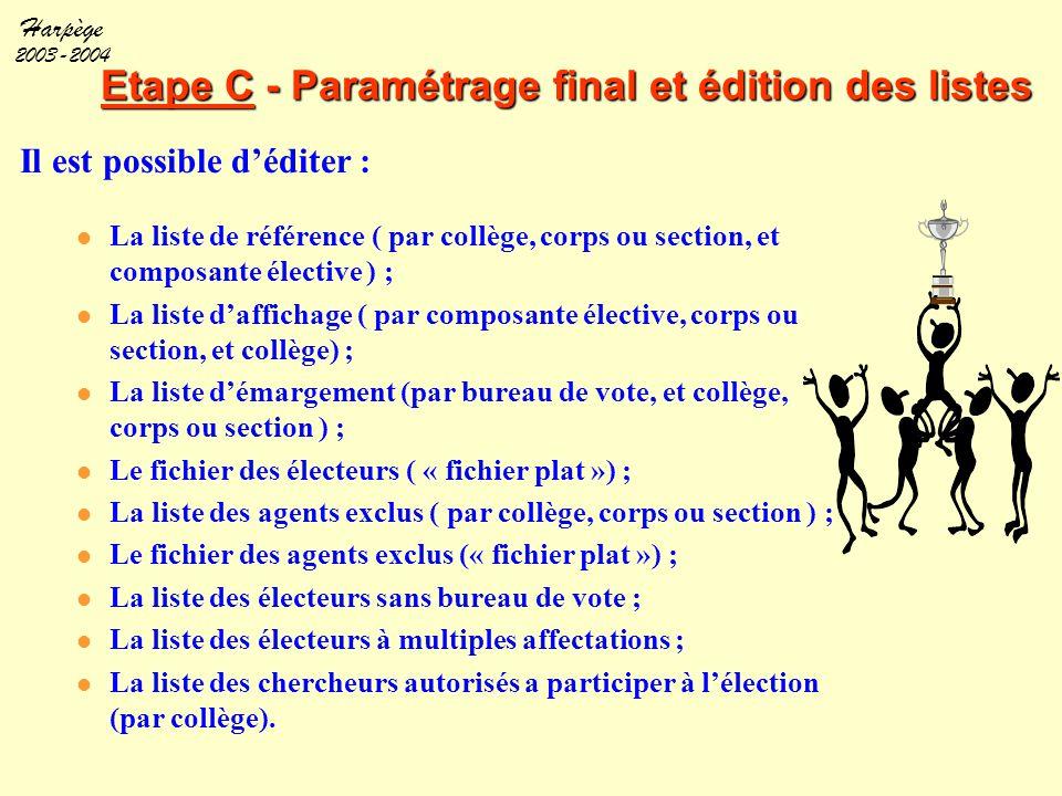 Harpège 2003-2004 Etape C - Paramétrage final et édition des listes Il est possible d'éditer : La liste de référence ( par collège, corps ou section,