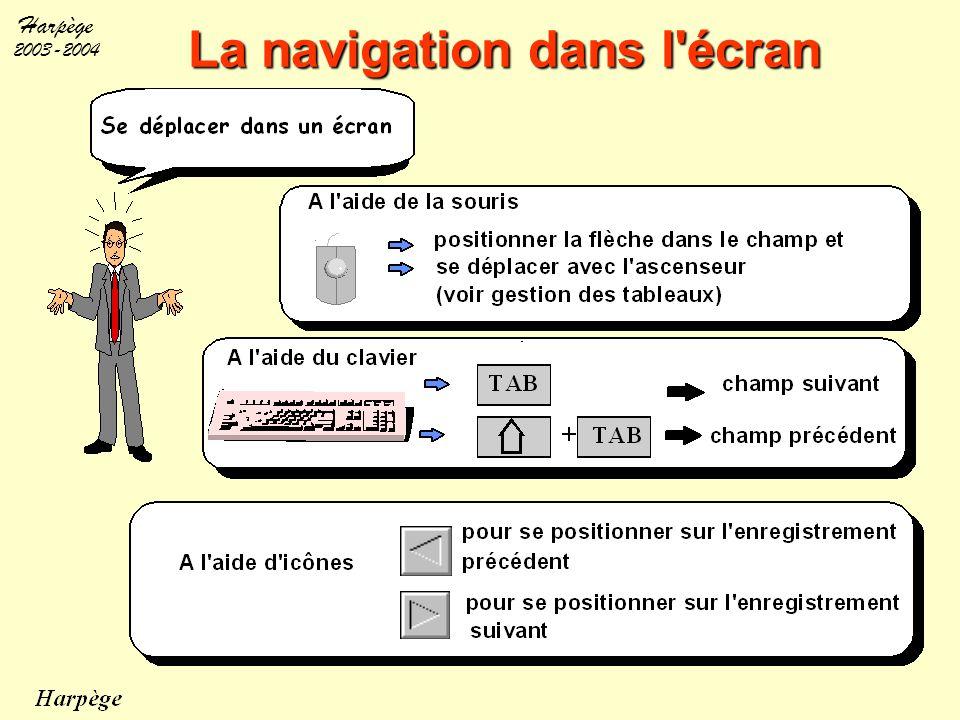 Harpège 2003-2004 La navigation entre plusieurs écrans Navigation entre écrans : à l'aide de la souris Bouton Dans un écran pour atteindre un autre écran menu Activer des écrans en faisant des choix dans les menus déroulants icône sortie Revenir au menu d'accueil et accéder à d'autres fonctionnalités onglet Dans un écran pour atteindre une autre fenêtre