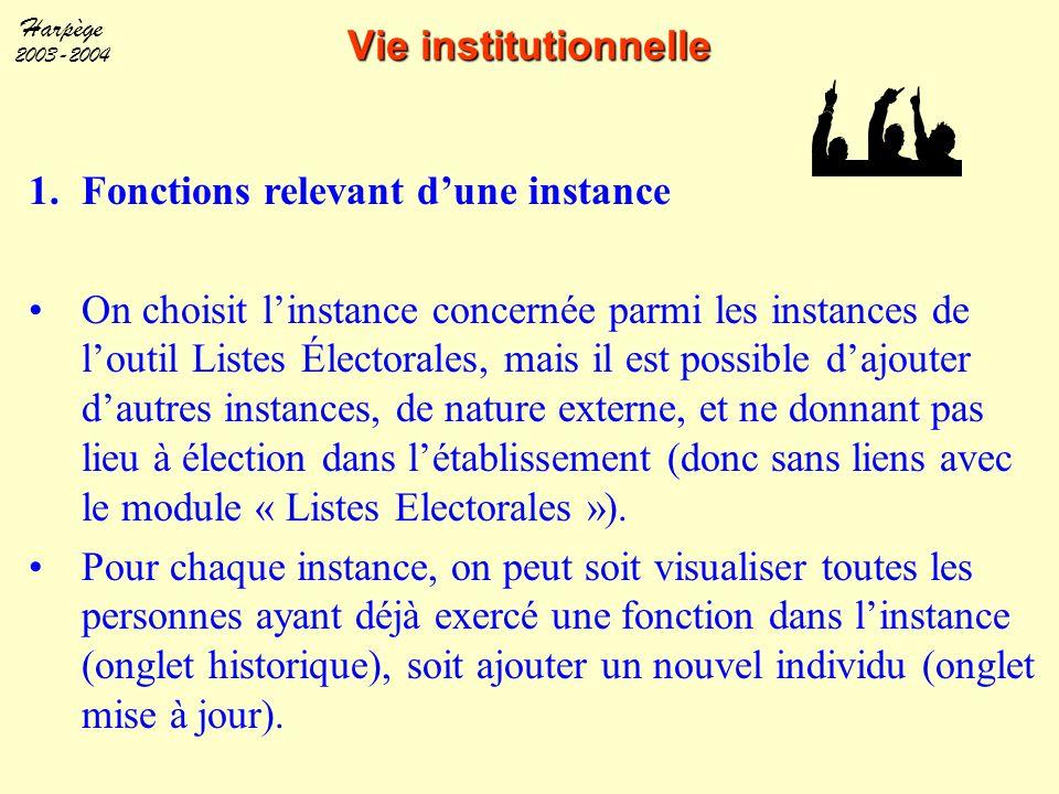 Harpège 2003-2004 Vie institutionnelle 1.Fonctions relevant d'une instance On choisit l'instance concernée parmi les instances de l'outil Listes Élect