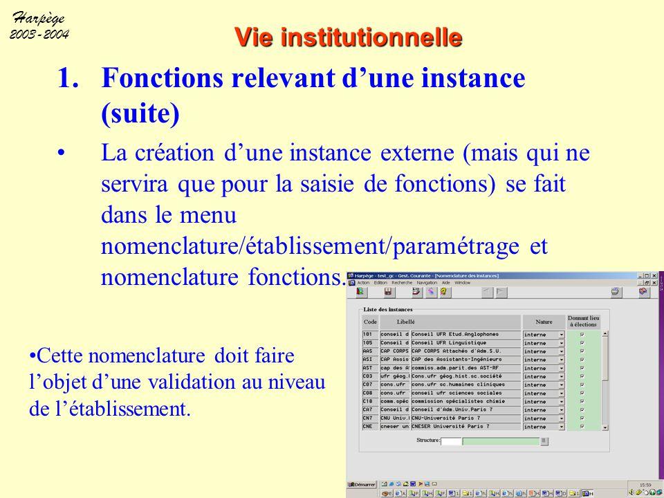 Harpège 2003-2004 Vie institutionnelle 1.Fonctions relevant d'une instance (suite) La création d'une instance externe (mais qui ne servira que pour la