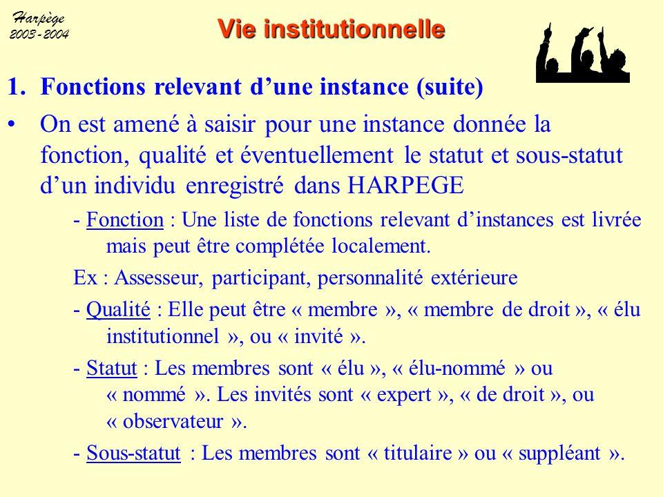 Harpège 2003-2004 Vie institutionnelle 1.Fonctions relevant d'une instance (suite) On est amené à saisir pour une instance donnée la fonction, qualité