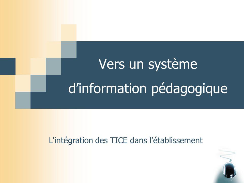 Vers un système d'information pédagogique L'intégration des TICE dans l'établissement