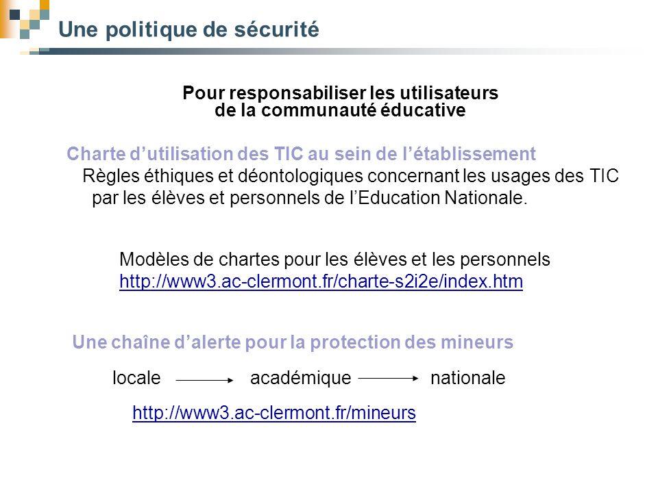 Une politique de sécurité Pour responsabiliser les utilisateurs de la communauté éducative Charte d'utilisation des TIC au sein de l'établissement Règ