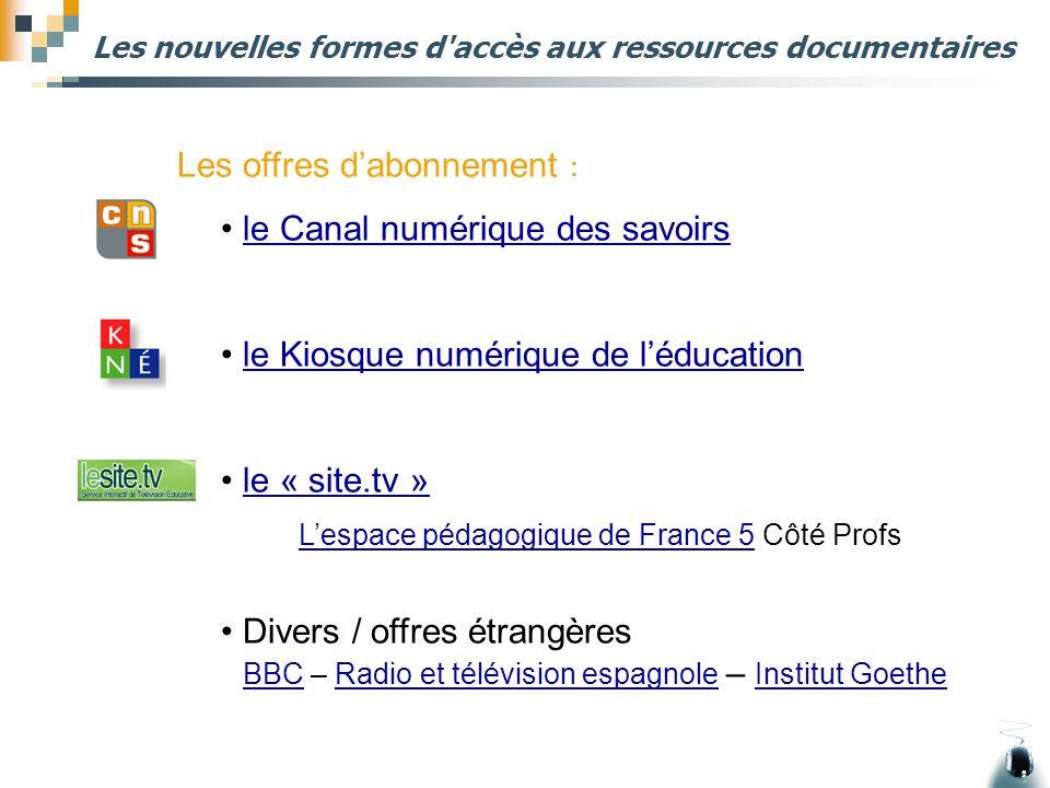 Les nouvelles formes d'accès aux ressources documentaires Les offres d'abonnement : le Canal numérique des savoirs le Kiosque numérique de l'éducation
