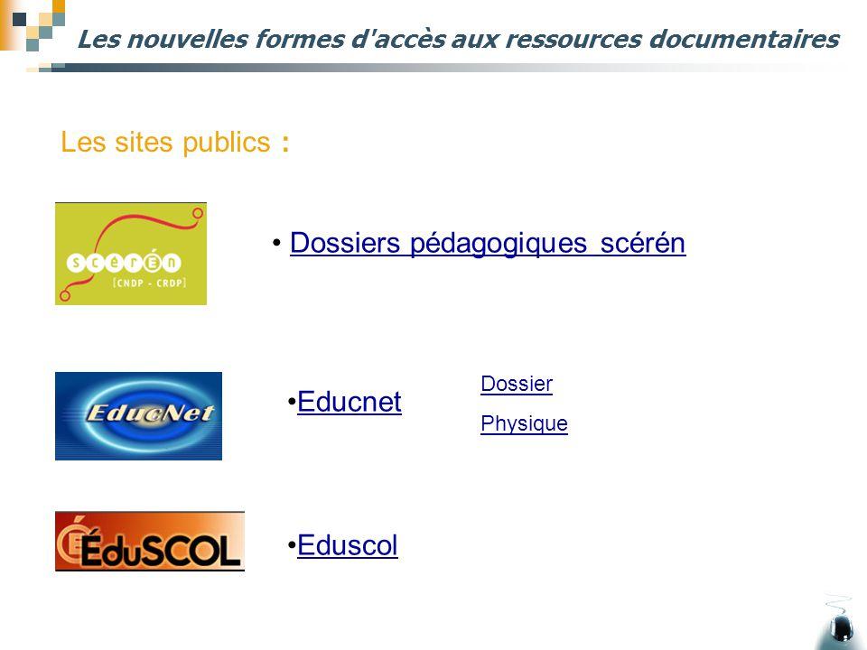 Les nouvelles formes d'accès aux ressources documentaires Dossiers pédagogiques scérén Les sites publics : Educnet Eduscol Dossier Physique