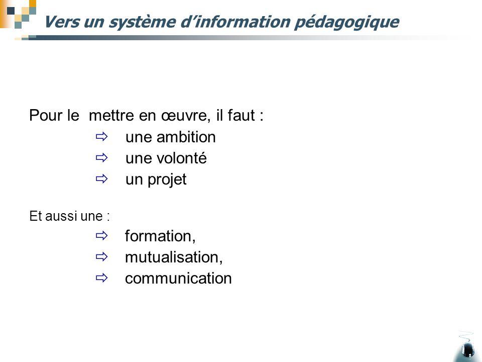 Vers un système d'information pédagogique Pour le mettre en œuvre, il faut :  une ambition  une volonté  un projet Et aussi une :  formation,  mu