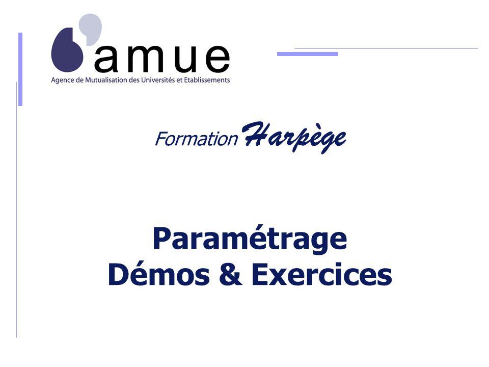 Formation Harpège MODULE DE PARAMÉTRAGE Démonstrations