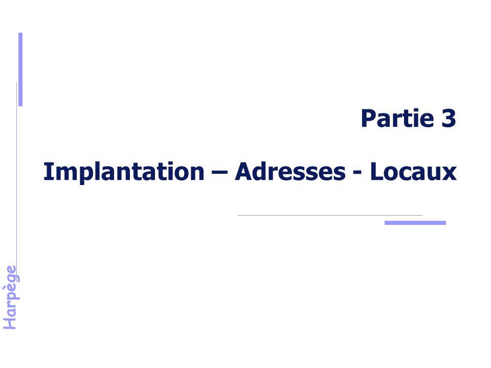 Harpège Partie 3 Implantation – Adresses - Locaux