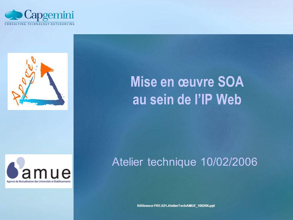 Référence PRE.021.AtelierTechAMUE_100206.ppt Mise en œuvre SOA au sein de l'IP Web Atelier technique 10/02/2006