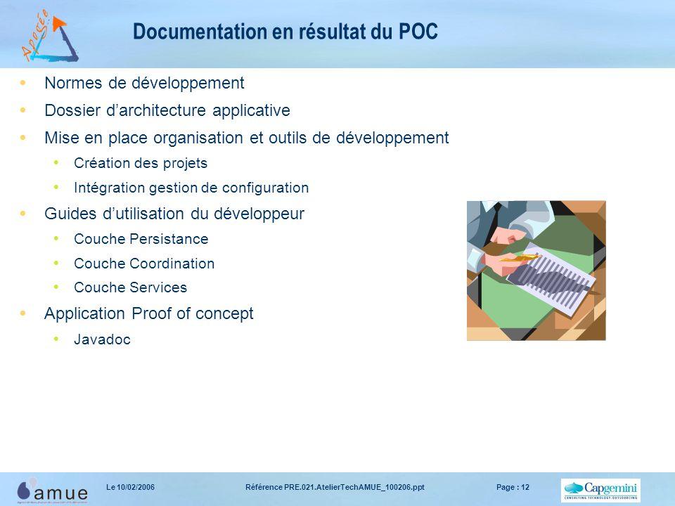 Référence PRE.021.AtelierTechAMUE_100206.pptPage : 12Le 10/02/2006 Documentation en résultat du POC  Normes de développement  Dossier d'architecture