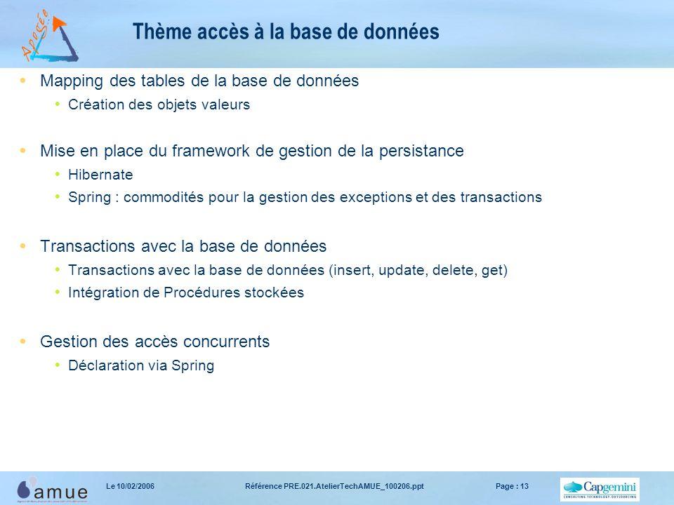 Référence PRE.021.AtelierTechAMUE_100206.pptPage : 13Le 10/02/2006 Thème accès à la base de données  Mapping des tables de la base de données  Créat