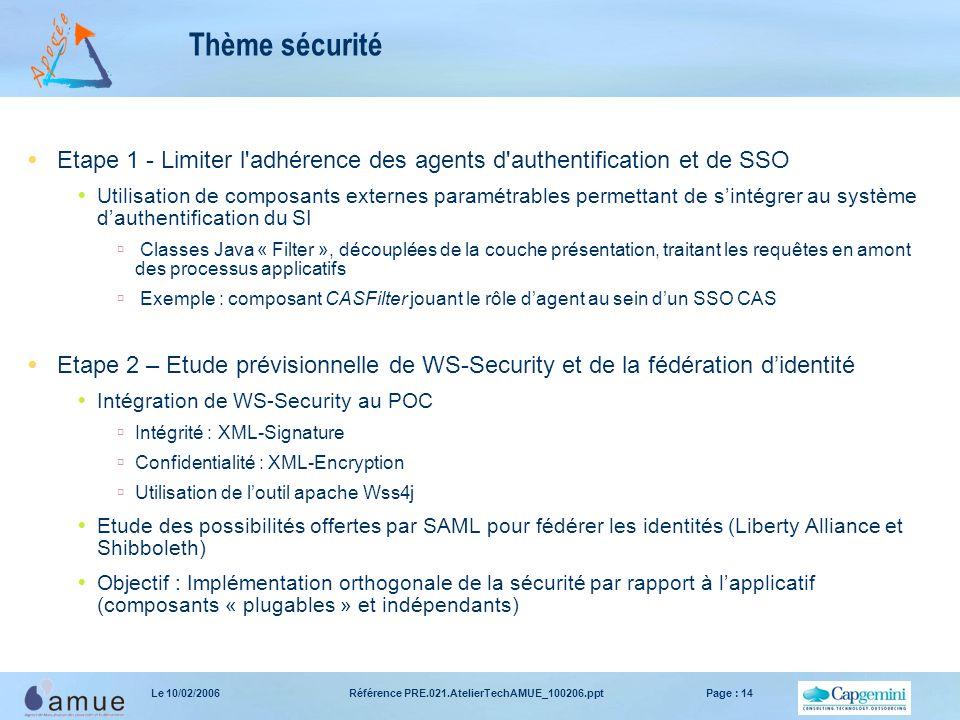 Référence PRE.021.AtelierTechAMUE_100206.pptPage : 14Le 10/02/2006 Thème sécurité  Etape 1 - Limiter l'adhérence des agents d'authentification et de