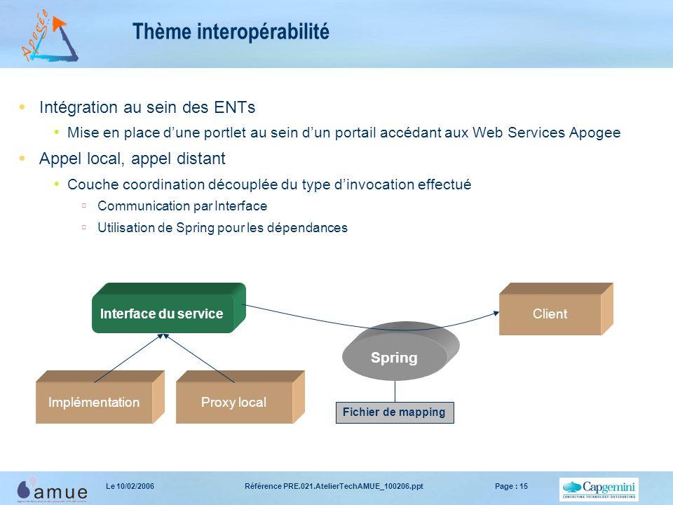 Référence PRE.021.AtelierTechAMUE_100206.pptPage : 15Le 10/02/2006 Thème interopérabilité  Intégration au sein des ENTs  Mise en place d'une portlet