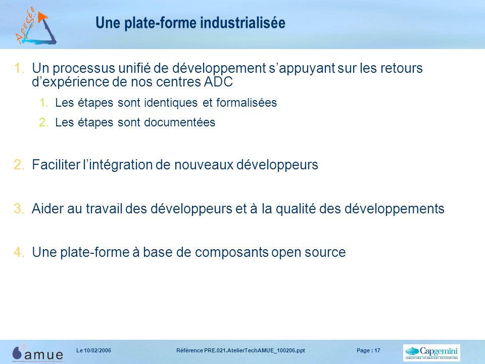 Référence PRE.021.AtelierTechAMUE_100206.pptPage : 17Le 10/02/2006 Une plate-forme industrialisée 1.Un processus unifié de développement s'appuyant su