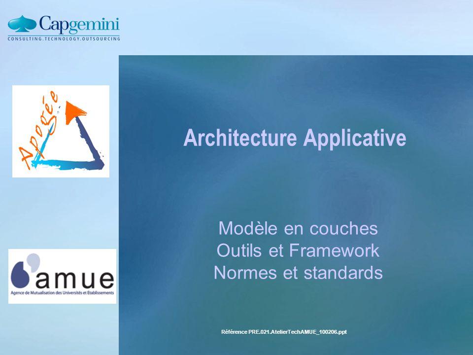 Référence PRE.021.AtelierTechAMUE_100206.ppt Architecture Applicative Modèle en couches Outils et Framework Normes et standards