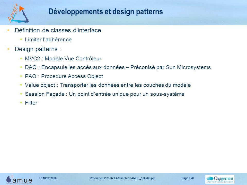 Référence PRE.021.AtelierTechAMUE_100206.pptPage : 20Le 10/02/2006 Développements et design patterns  Définition de classes d'interface  Limiter l'a
