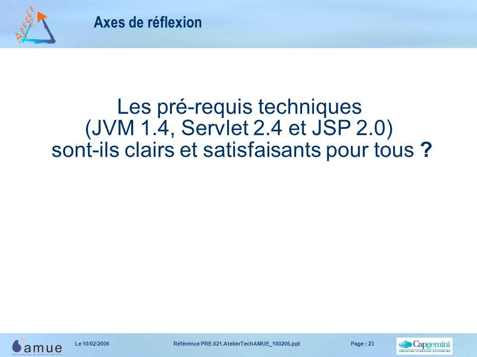 Référence PRE.021.AtelierTechAMUE_100206.pptPage : 23Le 10/02/2006 Axes de réflexion Les pré-requis techniques (JVM 1.4, Servlet 2.4 et JSP 2.0) sont-
