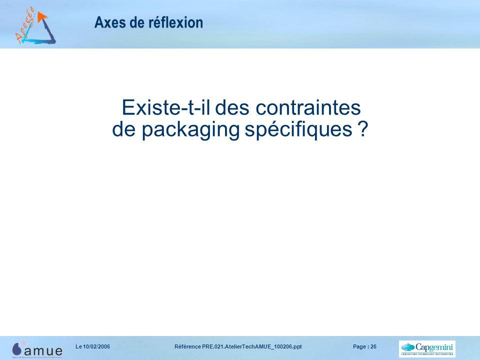 Référence PRE.021.AtelierTechAMUE_100206.pptPage : 26Le 10/02/2006 Axes de réflexion Existe-t-il des contraintes de packaging spécifiques ?