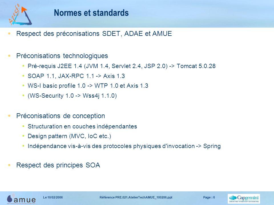Référence PRE.021.AtelierTechAMUE_100206.pptPage : 6Le 10/02/2006 Normes et standards  Respect des préconisations SDET, ADAE et AMUE  Préconisations
