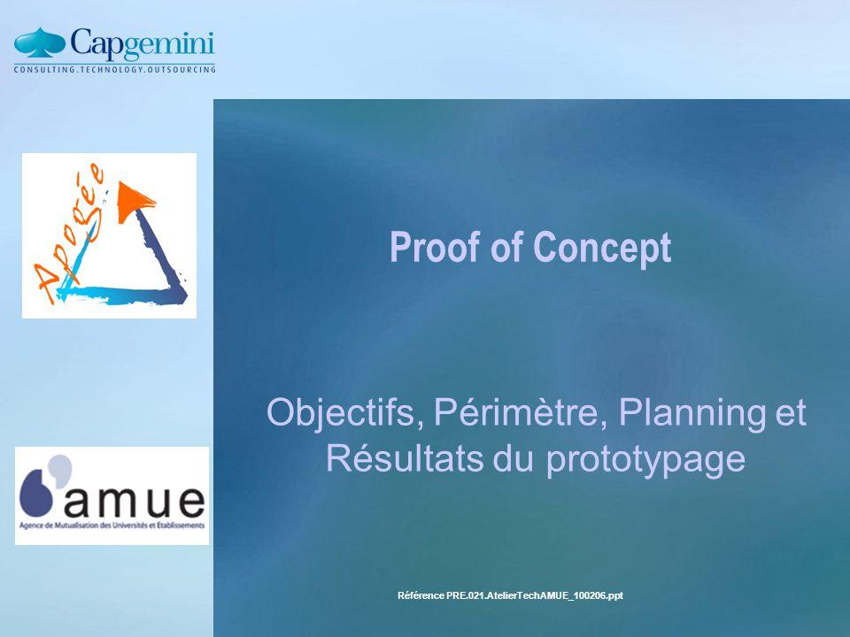 Référence PRE.021.AtelierTechAMUE_100206.pptPage : 8Le 10/02/2006 Les objectifs du POC 1.Valider les outils, les normes et l'architecture (WS-*, Frameworks) 2.Réutiliser au mieux l'existant (procédures stockées, IA Web) 3.Vérifier l'intégration aux ENTs (réalisation de portlets test) 5.Définir et valider un environnement de développement adapté 6.Mesurer les performances (scenarii et configurations de tests) 7.Mettre en évidence les points durs résiduels Hors périmètre : Identification et dimensionnement fonctionnel des services « Prototype » et non « maquette »  Gestion de la livraison et du déploiement