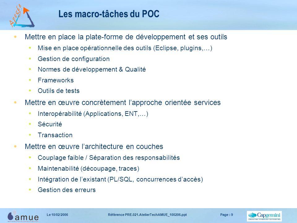 Référence PRE.021.AtelierTechAMUE_100206.pptPage : 9Le 10/02/2006 Les macro-tâches du POC  Mettre en place la plate-forme de développement et ses out