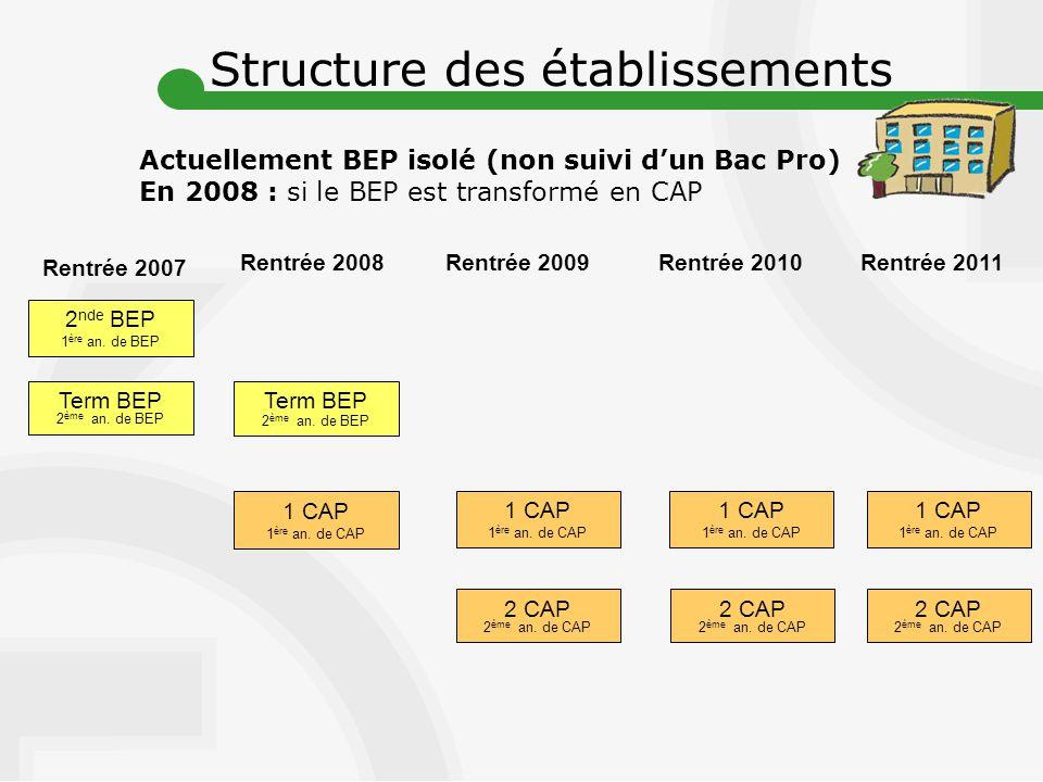 Rentrée 2007 Rentrée 2008 Term BEP 2 ème an.de BEP 2 nde BEP 1 ère an.