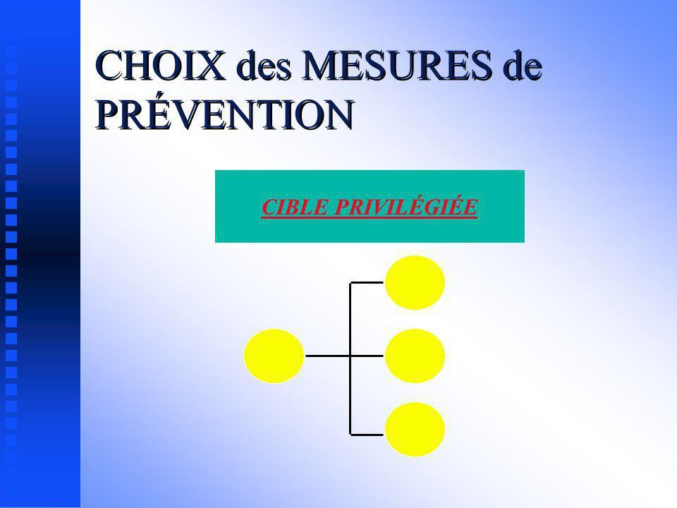 CHOIX des MESURES de PRÉVENTION Mesures préventives on va mettre en place des mesures applicables à l ensemble de l entreprise
