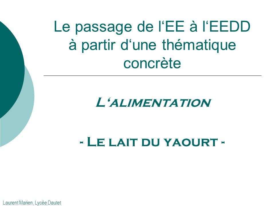 Le passage de l'EE à l'EEDD à partir d'une thématique concrète L'alimentation - Le lait du yaourt - Laurent Marien, Lycée Dautet